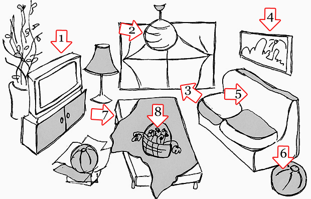 there is there are English Lesson plan my home- what is in my a room - an image with different furniture in a room